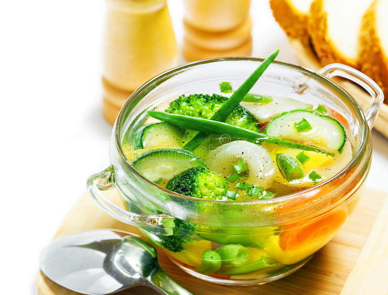 Vegetable soup. On white background stock image