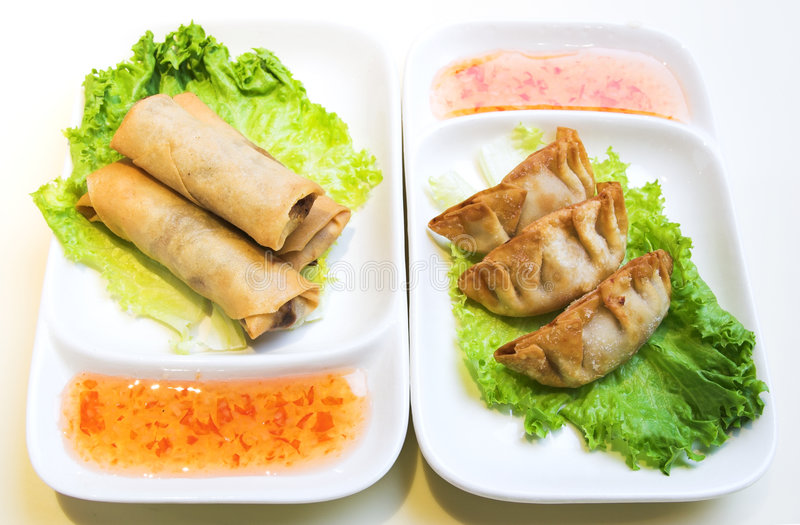 Download Vegetable Spring Rolls And Chicken Dumplings Stock Photos - Image: 689663