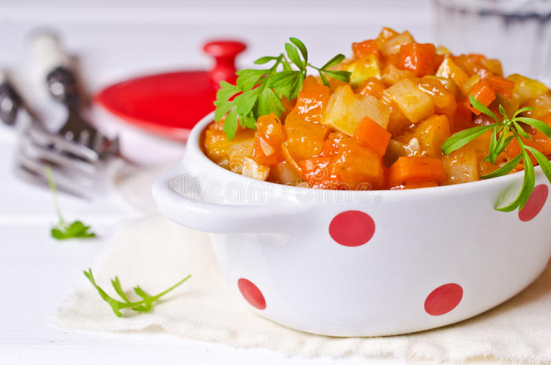 Vegetable stew with sauce royalty free stock photography