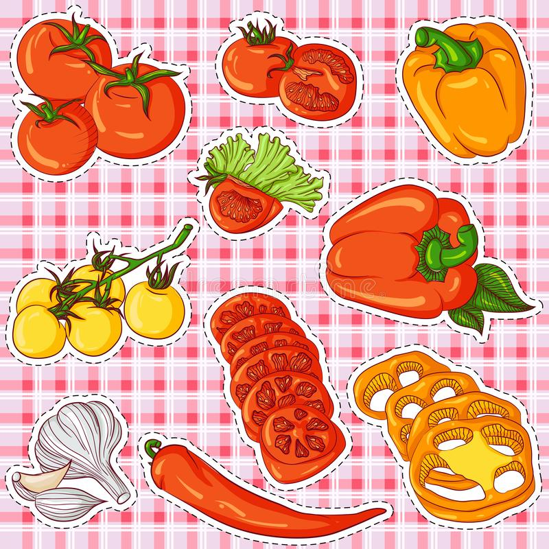 Vegetable stickers royalty free illustration