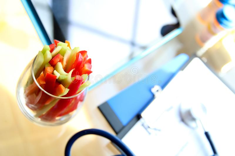 Vegetable sticks on the table in the doctor`s office. stock images
