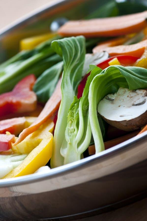 Vegetable stir fry. Of bok choy mushroom peppers carrots stock image