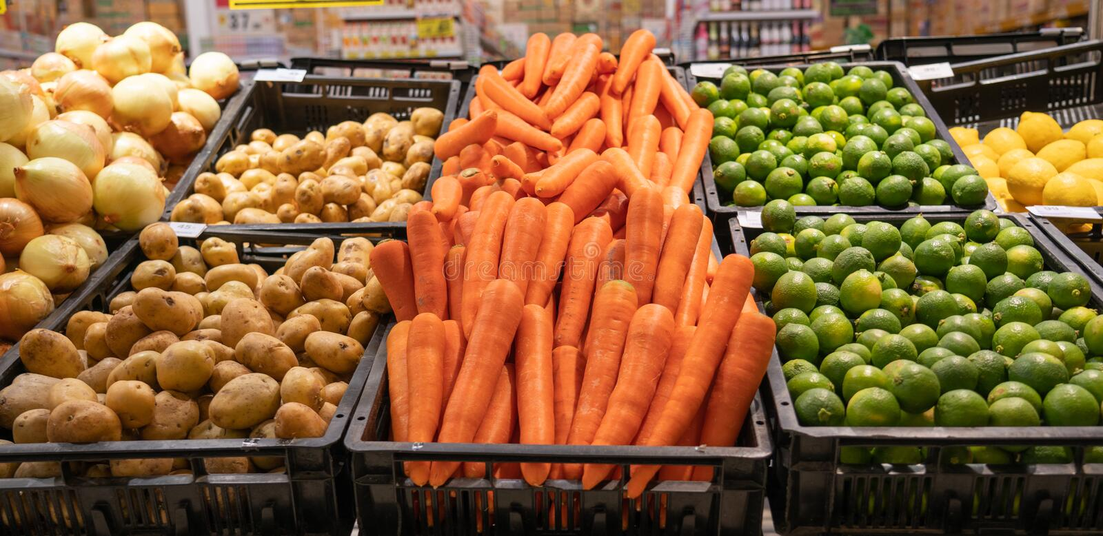 Vegetable on supermarket stock photography