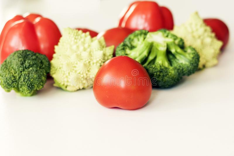 Vegetable variety on wooden white table. Selection of summer and autumn vegetables, space for text.  stock photos