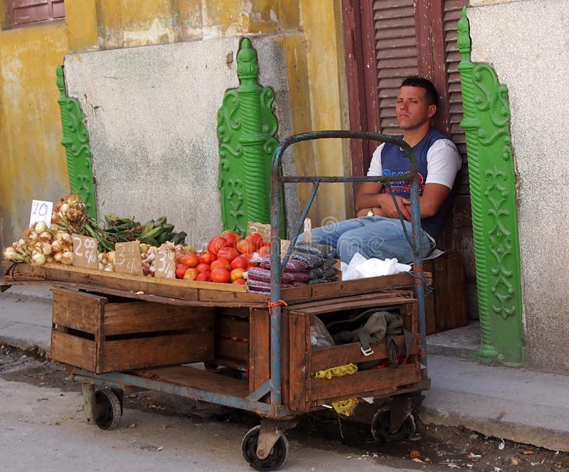 Vegetable Vendor In Havana Cuba royalty free stock photography