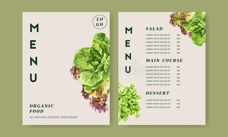 Vegetable watercolor paint collection. Fresh food organic menu healthy design illustration royalty free illustration