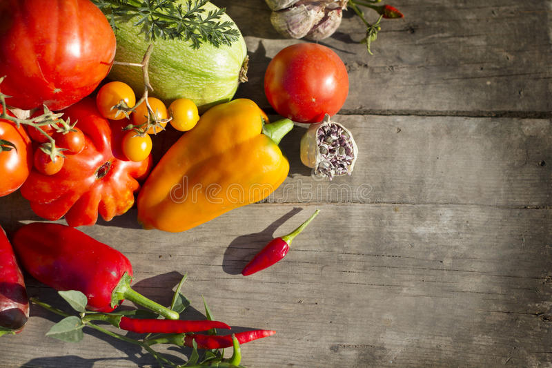 Vegetable on on a wood background stock image