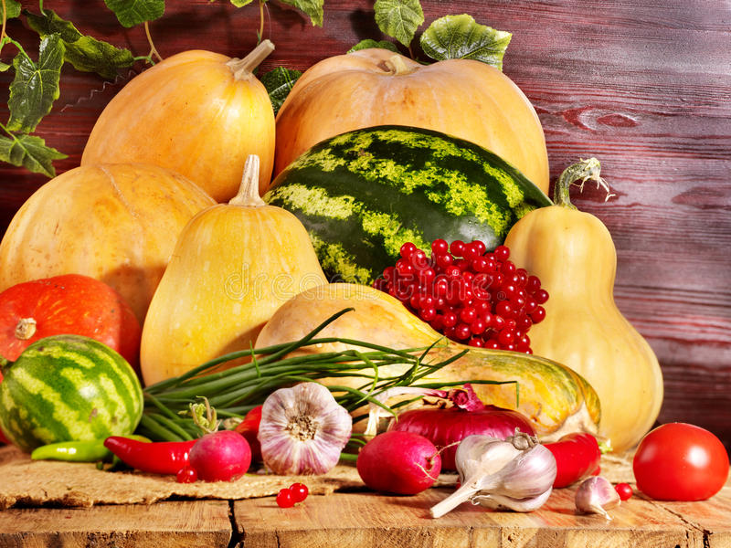 Vegetable on wooden boards. Fresh vegetable on wooden boards stock photo