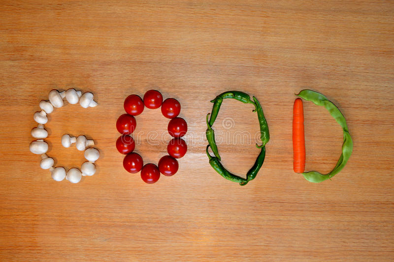 Vegetable writing: Good stock image
