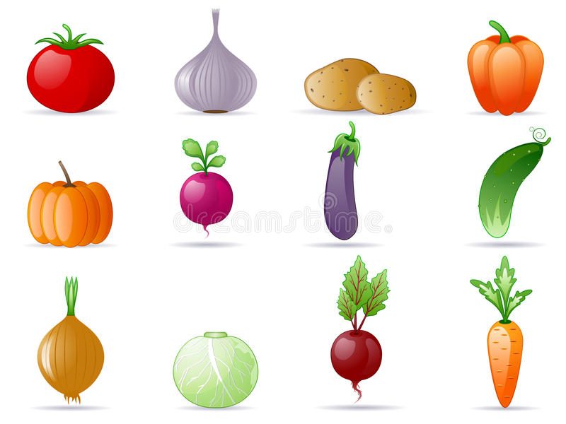 Vegetables. (food, agriculture) icon set
