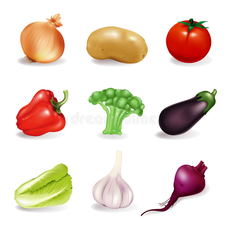 Vegetables. Set, isolated on the white