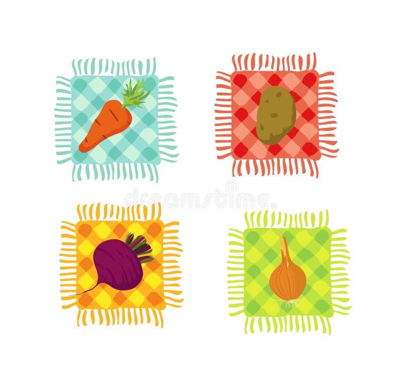 Vegetables. Autumn crop. Onions, carrots, beet and potato vector illustration