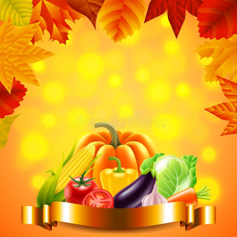 Vegetables on autumn background with golden ribbon royalty free illustration