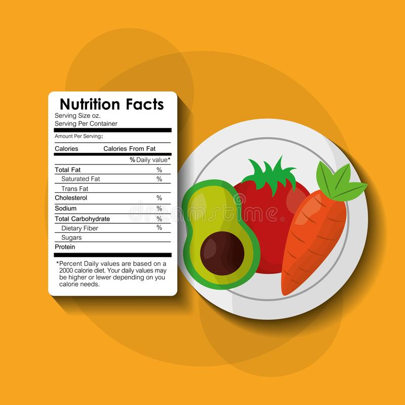 Vegetables avocado healthy food nutrition facts label benefits royalty free illustration