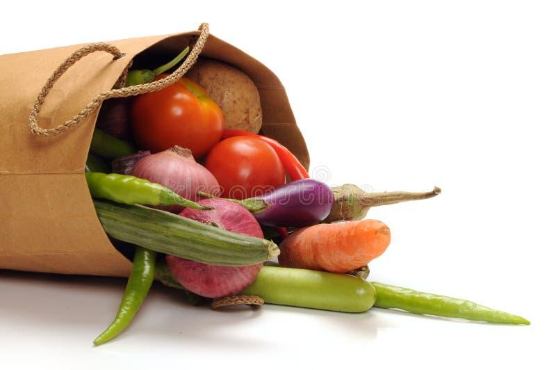 Vegetables bag. Fresh vegetables on shopping bag stock image