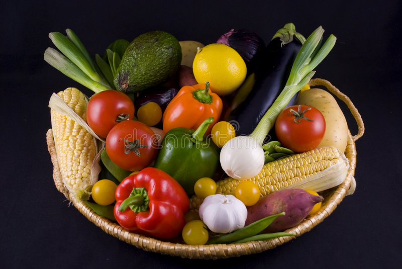 Vegetables basket royalty free stock photography