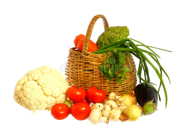 Vegetables and basket stock photo