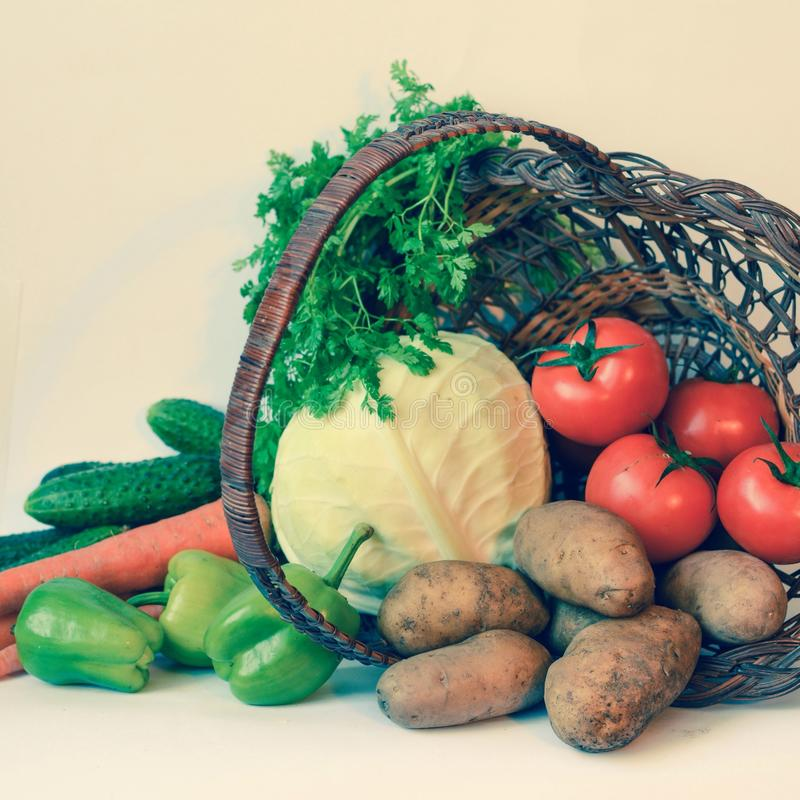 Vegetables. Basket with vegetables stock image