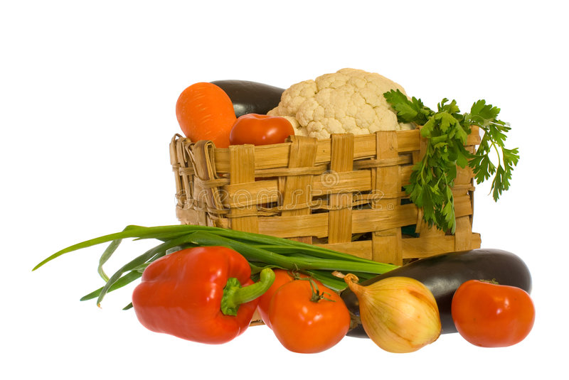 Vegetables and basket stock photos