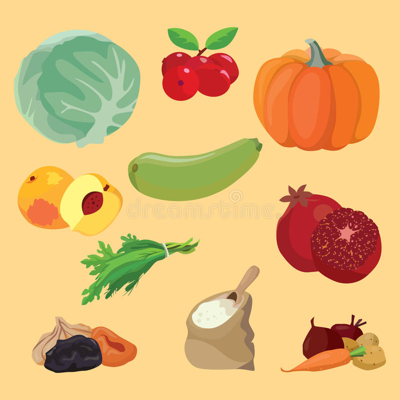 Vegetables, berries, fruits, dried fruits, greens, cereals stock illustration