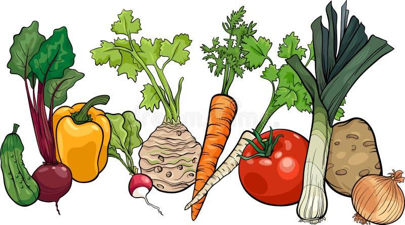 Vegetables big group cartoon illustration stock illustration