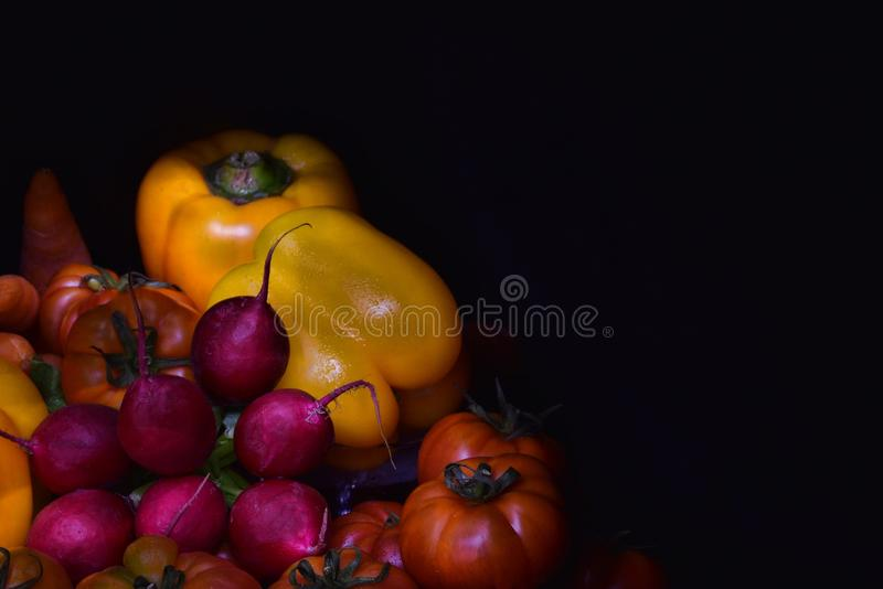 Vegetables on black background with copyspace. Vegetables: yellow bulgarian pepper, tomatoes, carrots and radish on black background. stillife. lightpainting royalty free stock photos