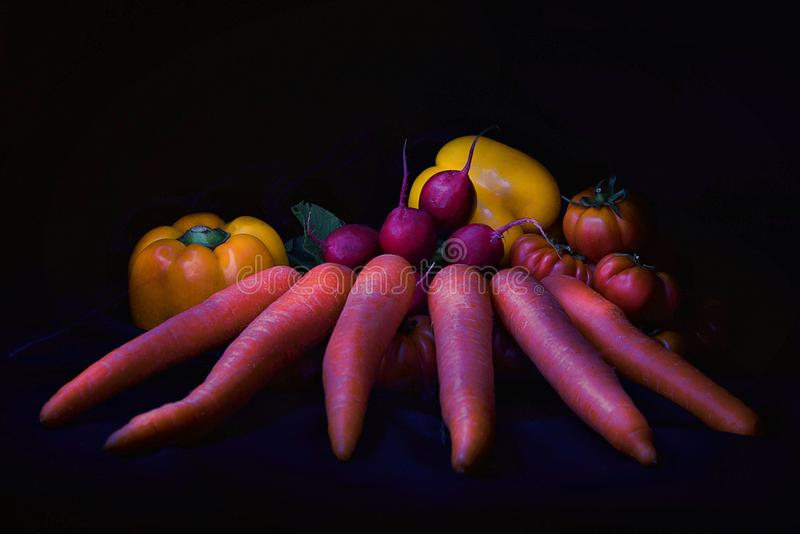 Vegetables on black background. Vegetables: yellow bulgarian pepper, tomatoes, carrots and radish on black background. stillife. lightpainting stock images