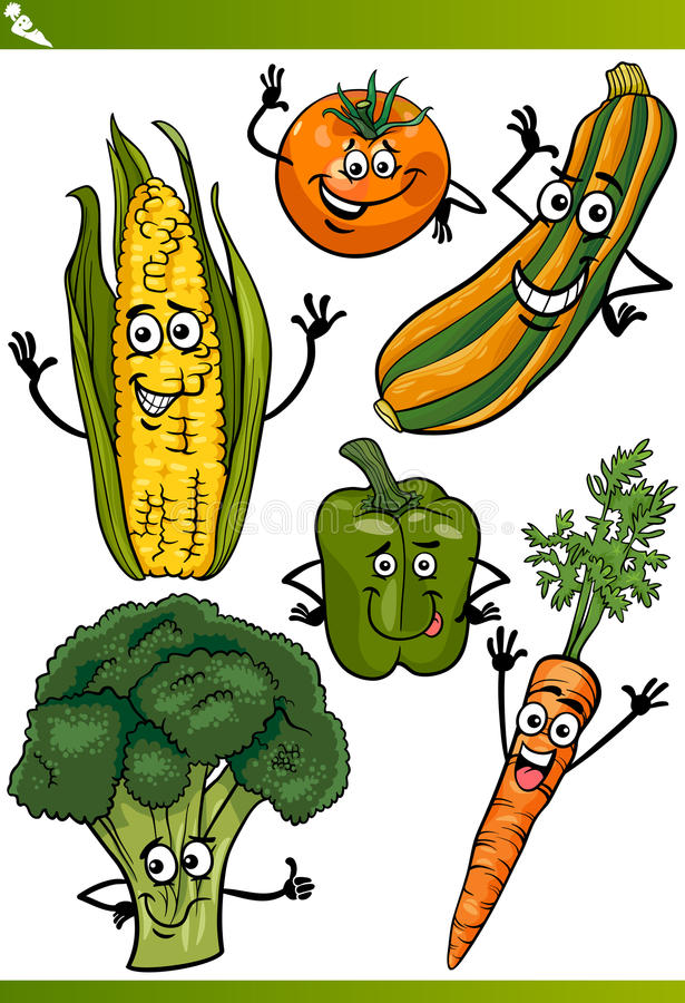 Vegetables cartoon illustration set royalty free illustration