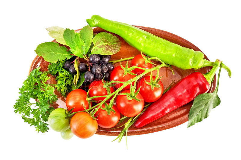 Vegetables on a ceramic plate stock photography