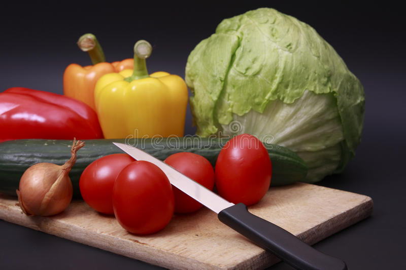 Download Vegetables On Chopping Board Stock Image - Image of black, board: 9998373