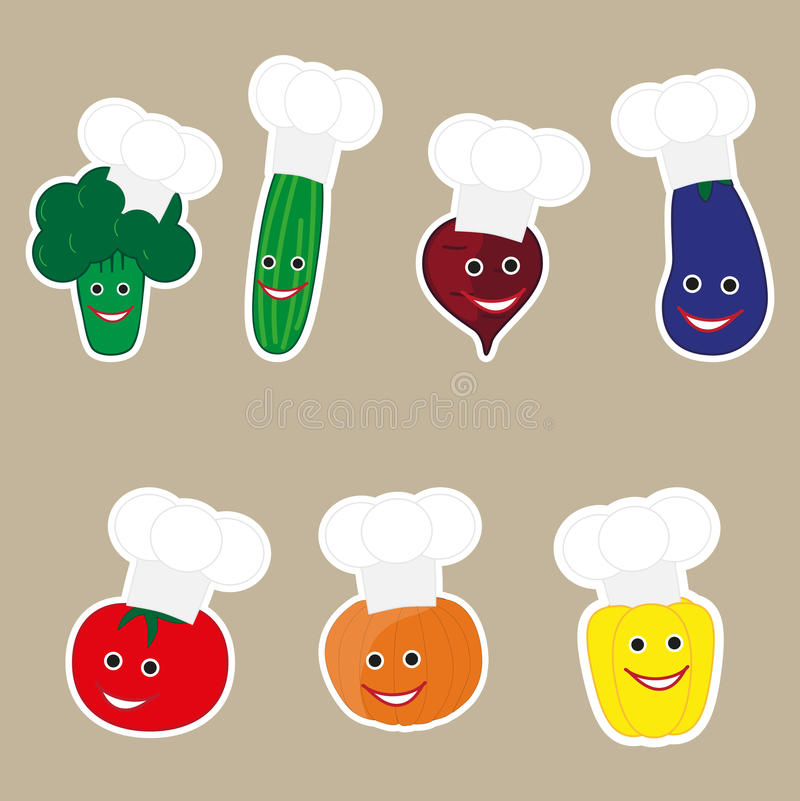 Vegetables in cook caps. Vector illustration of funny vegetables character with cook cap. great for fridge magnet royalty free illustration
