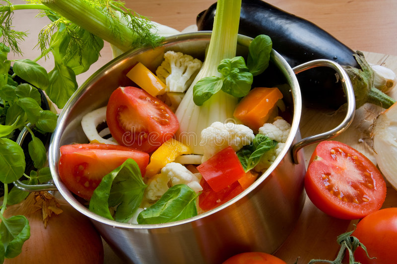 Vegetables in cooking pot royalty free stock image