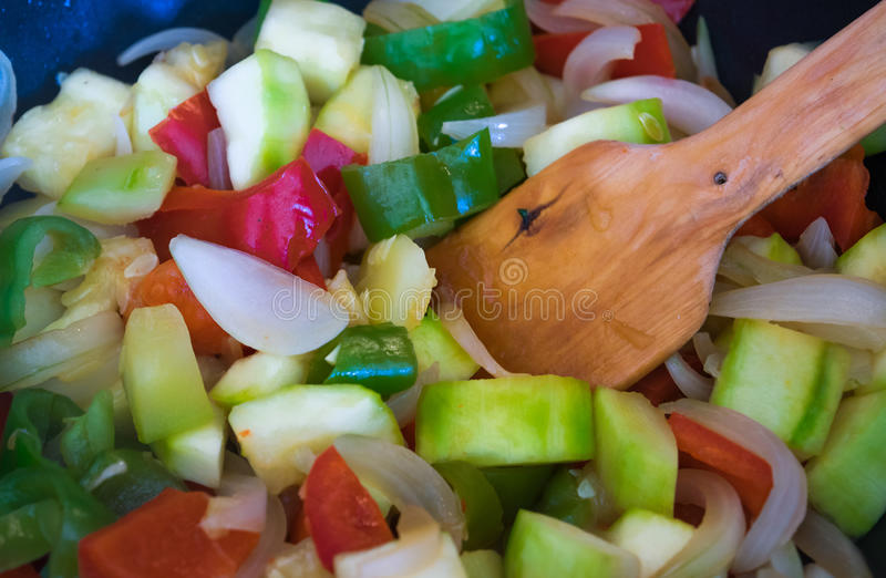 Vegetables cooking stock image
