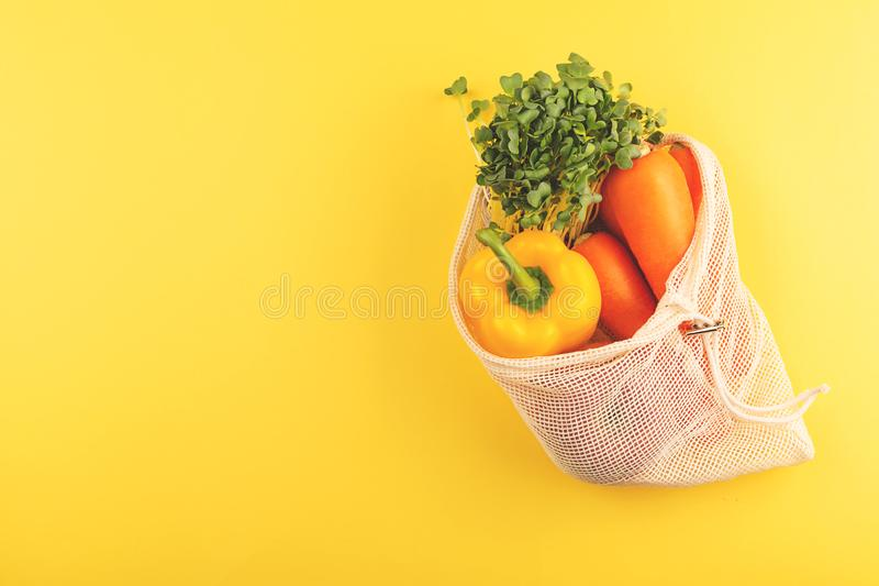 Vegetables in cotton shopping bag royalty free stock photography