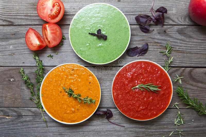 Vegetables cream soups stock photography