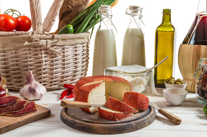 Vegetables and dairy products for breakfast stock image
