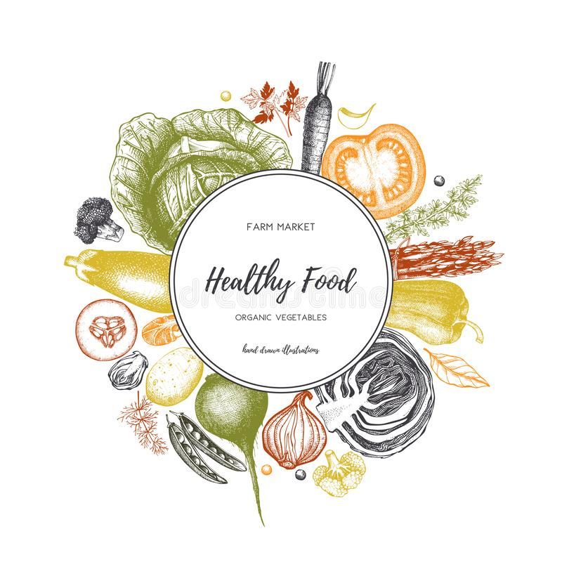Eco food design with hand drawn vegetables sketch. Organic products frame. Vector template with vintage harvest illustration. Heal royalty free illustration