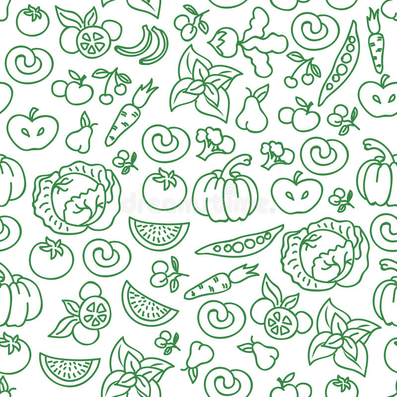 Vegetables diet food background. Vector raw vegetable foods for healthy seamless pattern stock illustration