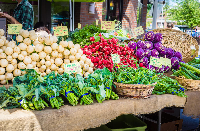 Vegetables at farmers market stock images