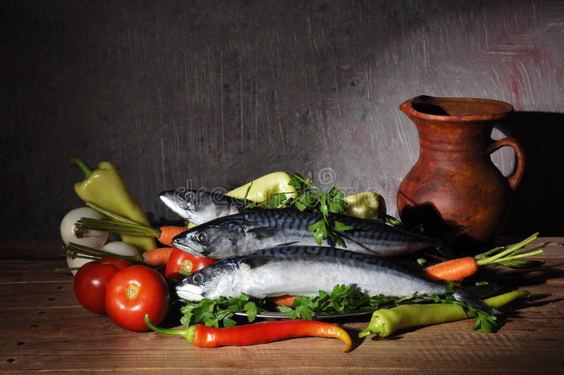 Download Vegetables and fish stock image. Image of plate, still - 19005599