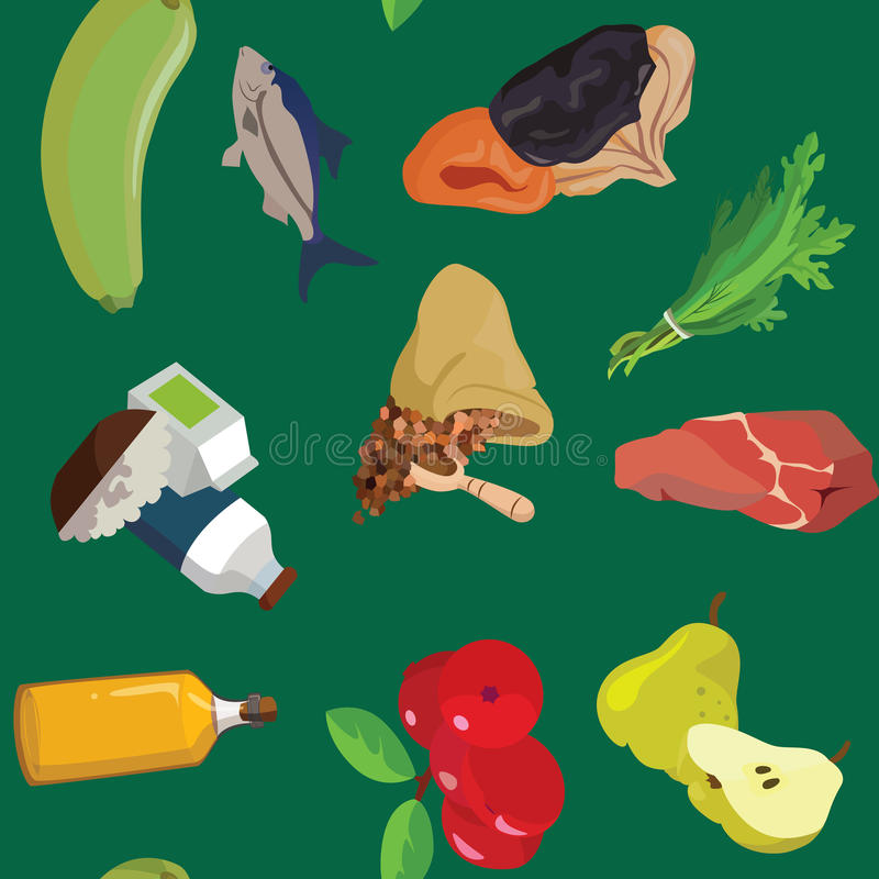 Vegetables, fish, dried fruits, greens, cereals, meat, dairy pro vector illustration