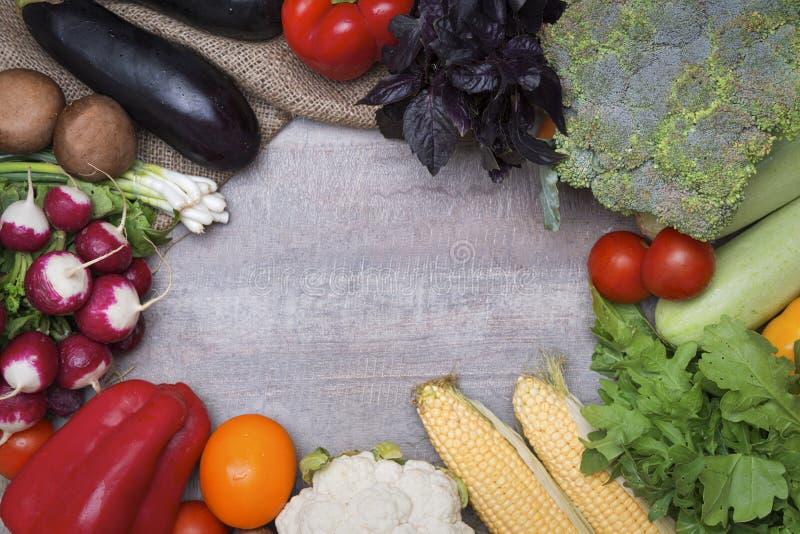 Vegetables frame background stock images