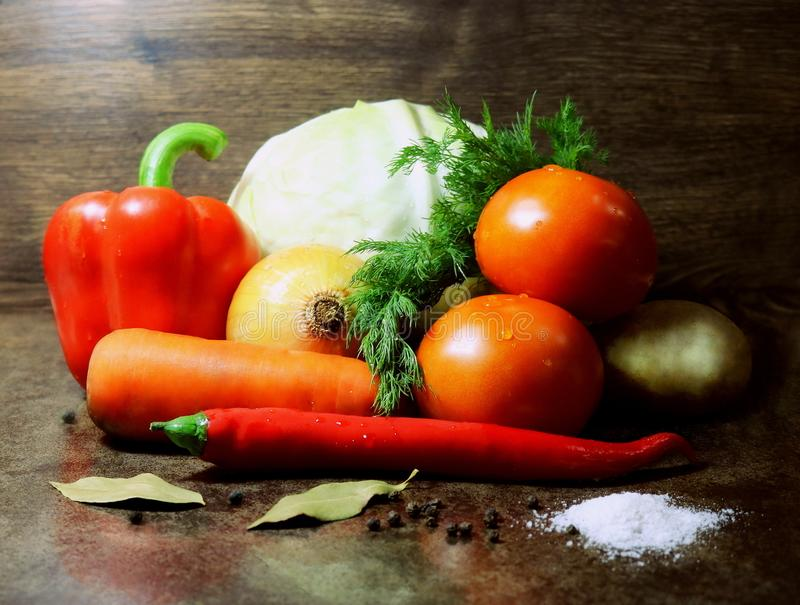 Vegetables. Fresh vegetables. Cabbage and vegetables for vegetable soup. Dietary food.Vegetarian food. royalty free stock image