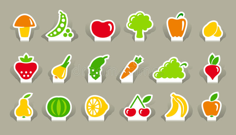 Download Vegetables And Fruit Icons On Stickers Stock Vector - Illustration of grapes, illustration: 26809121