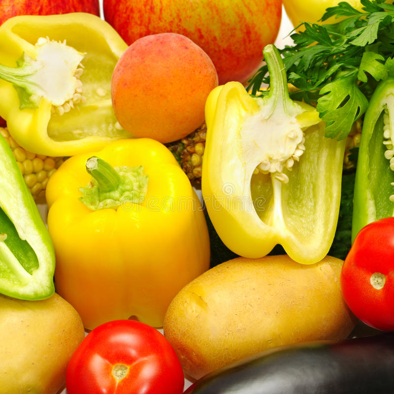 Vegetables and fruit. On white royalty free stock images