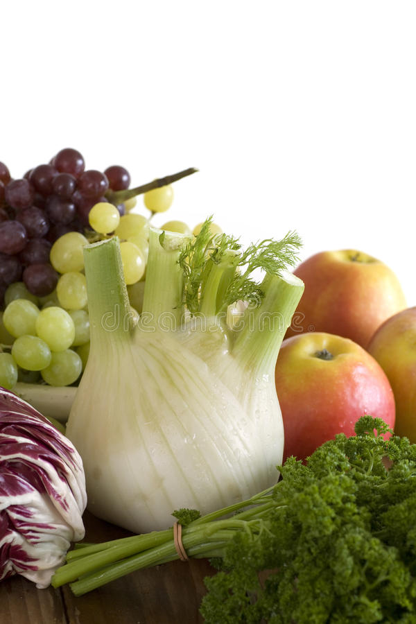 Vegetables and fruit on white background