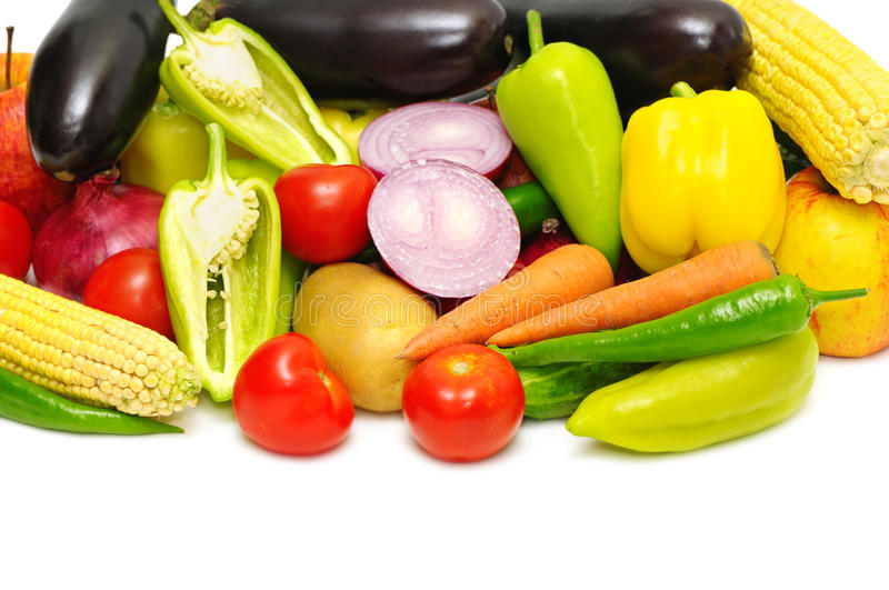 Vegetables and fruit. On a white background stock images