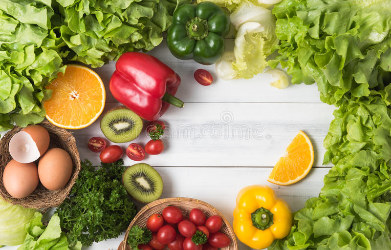 Vegetables And Fruit On Wood Background, Healthy Food ...