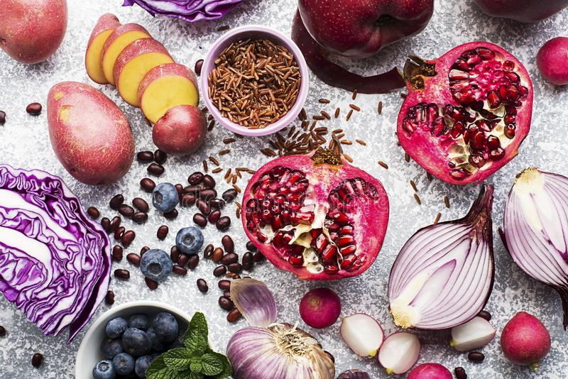 Different vegetables and fruits of purple, pink and purple color for a healthy diet. Vitamin-rich Anthocyanins for blood royalty free stock photos