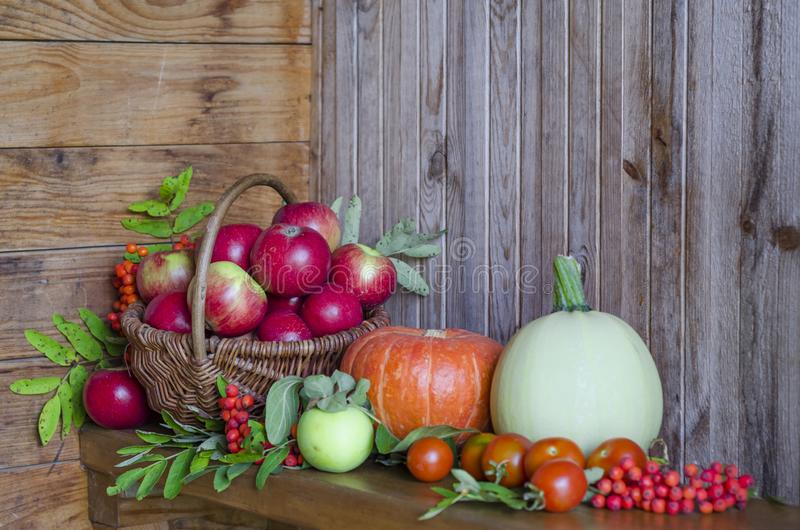 Vegetables and fruits in a basket on a wooden background. harvesting autumn and summer harvest. pumpkin, zucchini, apple. Rowan, pea, cherry. soft focus. copy royalty free stock image